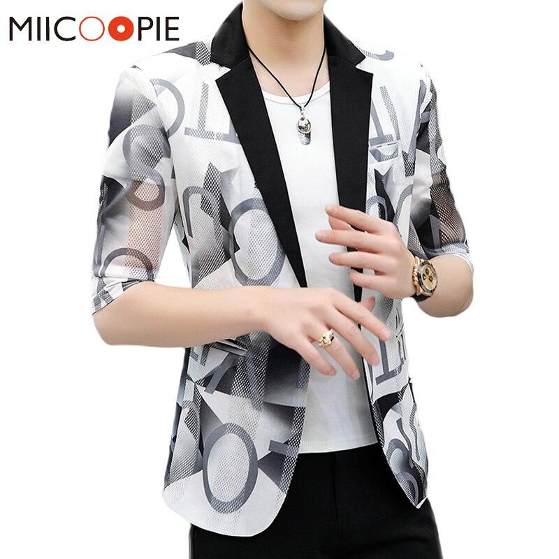 2020 Brand Half Sleeve Casual Suits For Men Asian Size Slim Fit One Button Blazer Coat Men Fashion Letter Print Erkekler Blazers