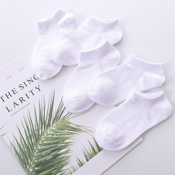 5 Pairs/lot 1 to 12 Years Summer Solid White Cotton Socks For Children Socks Spring No-show Low Cut Socks Boys Girls Boat Socks