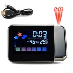 Image 2 - 1 adet yeni projeksiyon çalar saat ile hava istasyonu termometre tarih ekran USB şarj aleti erteleme LED projeksiyon dijital saat