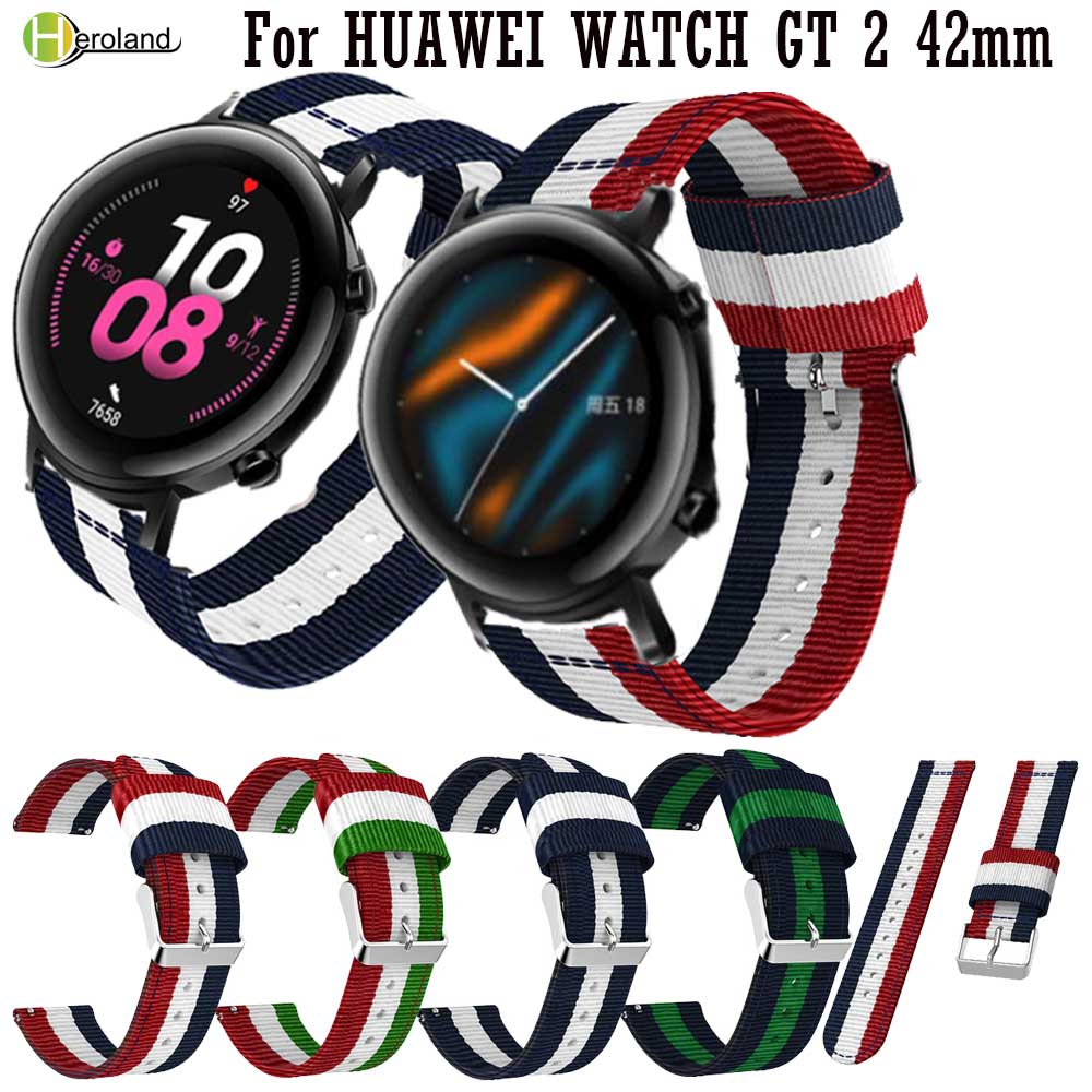 22mm 20mm Nylon Watch Strap For Huawei Watch GT GT2 46mm / 42mm Sport Smart WatchBand Wristband For Samsung Galaxy Watch Active2