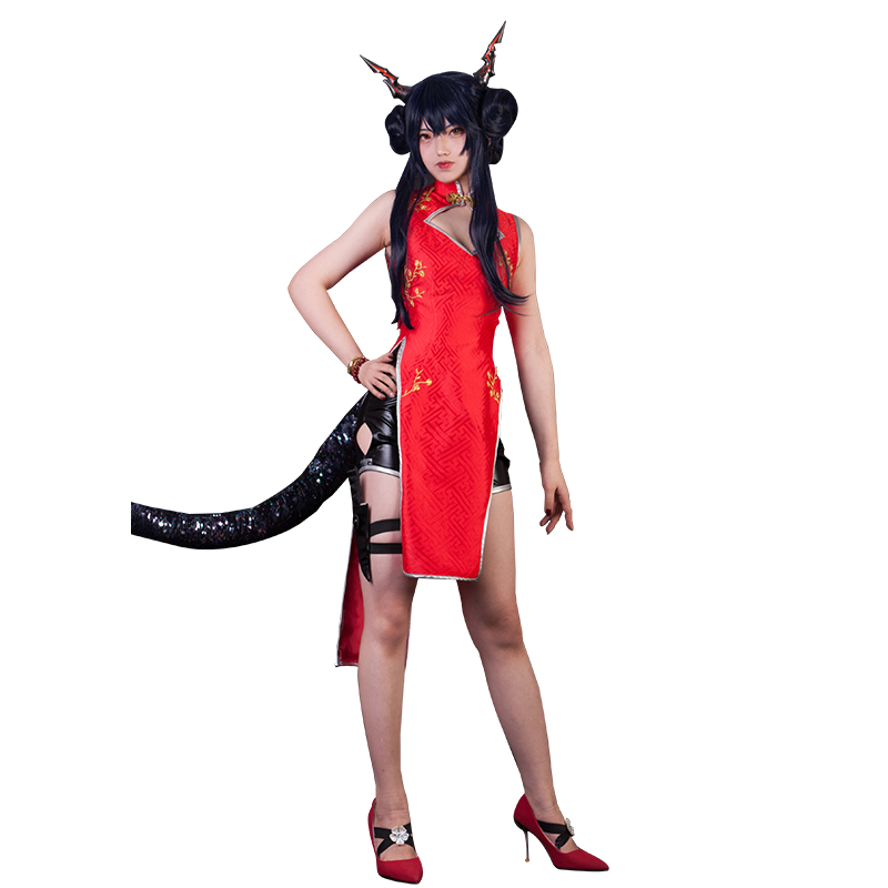 Anime Arknights Chen Suihongxia Cheongsam New Year S Greeting Angel Sexy Dress Uniform Cosplay Costume For Women Free Shipping Aliexpress