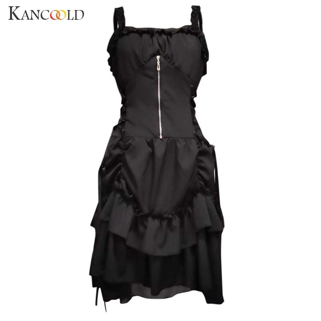 Kancoold vestido das mulheres império gótico vintage vestido steampunk tribunal retro princesa sem mangas moda novo vestido feminino 2019nov27