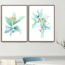 Watercolor Green Plant Flower Wall Art Print Canvas Painting Nordic Posters And Prints Pictures For Living Room Bedroom