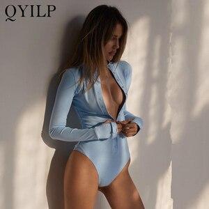 2020 cardigan manga longa céu sólido azul sexy bodysuit feminino verão corpo superior cinza casual senhora streetwear bodysuits