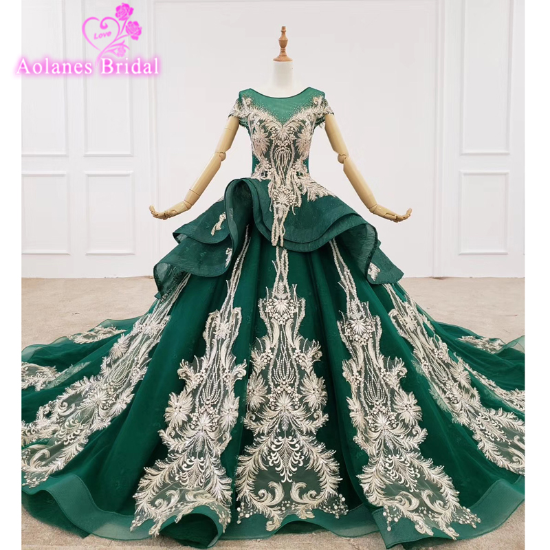 Deep Green Crystal Beaded Evening Dresses With Lace Illusion High Neck Long Sleeves Saudi Arabic Prom Gowns 2020 Robe De Soiree