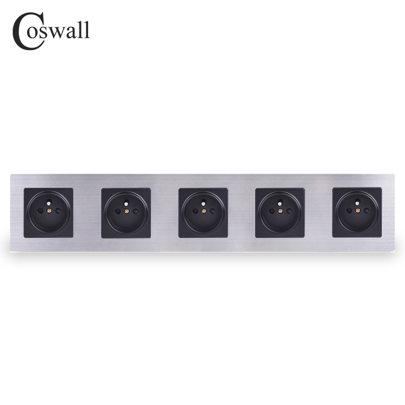 COSWALL Stainless Steel Panel 5 Gang Wall Socket...
