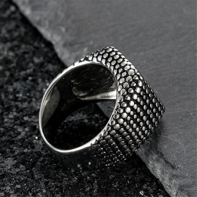 Domineering Men's Ring Titanium Steel Rock Punk Vintage Trend Fashion Point Big Wide Male Ring Jewelry Accessories