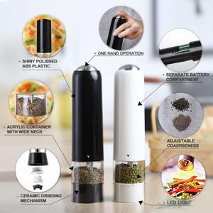 Image 4 - 2 個自動塩グラインダー電気コショウミルスパイスグラインダーセットledライトバッテリーのキッチン研削ツール黒/白
