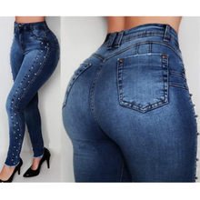 Vrouwen hoge taille jeans Slim Skinny Elastische Denim jeans broek dames Vintage Kralen Push Up Potlood calca Jeans winter moeder jeans(China)