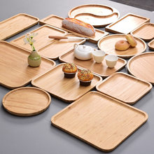 Bandeja de bambu bandeja de chá rodada placa do hotel casa contratada retângulo pão de frutas decoração de jardim decoração de casa artes e ofícios