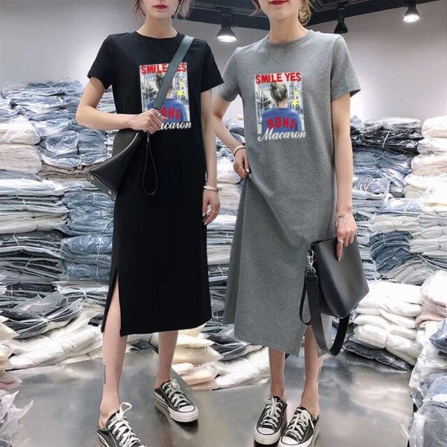 Summer Cartoon women dress short sleeve printed O-Neck Medium long black Plus Size dresses Female Casual clothes 2019 vestidos 2