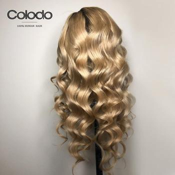 COLODO Pre Plucked #4 Roots Blonde Highlights Color Body Wave Wig Brazilian Remy Hair Full Lace Human Hair Wigs for Black Women 1