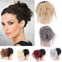 Lupu гофрированные эластичные матовые пышные прическа гулька волосы вспомогательный оголовье парик женщина Расширенный короткие синтетические волосы chi