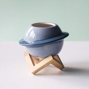 Image 3 - Neue Kreative Planeten keramik topf sukkulenten töpfe balkon dekorationen macetas de ceramica desktop decor Mini anlage blumentopf garten