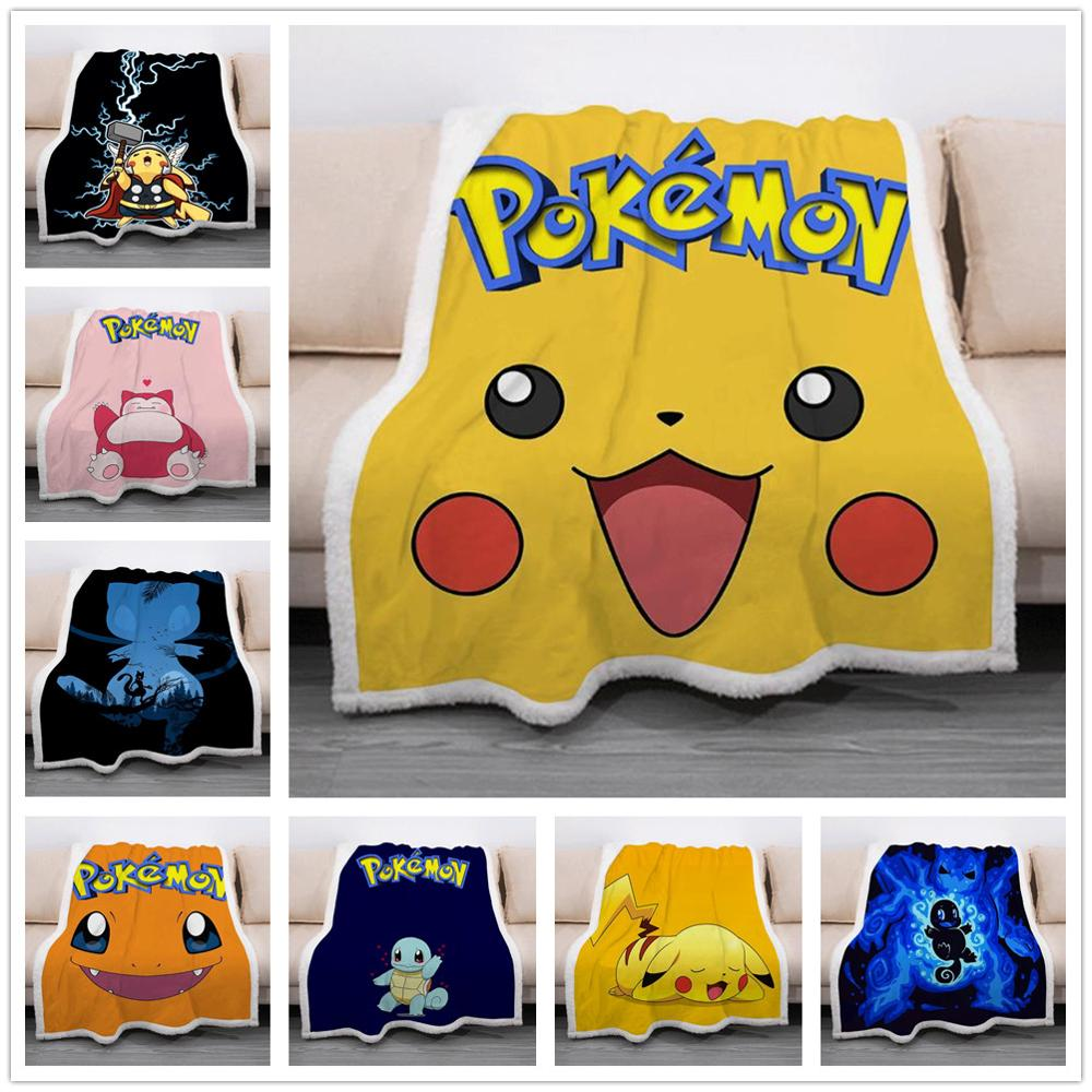 Anime Manga POKEMON Pikachu Throw Blanket Blankets For Beds Sofa Cover 2
