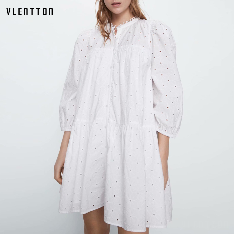 2020 Spring Autumn White Sexy Hollow Out Mini Dress Women Solid Embroidery Casual Loose A-Line Beach Dresses Ladies Vestidos