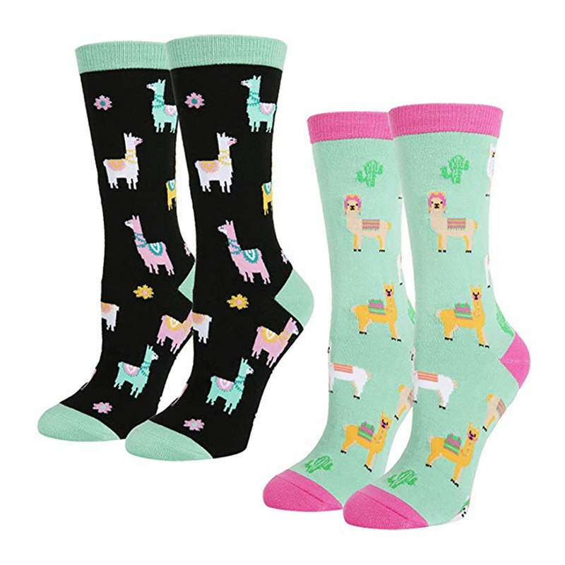 Men Women Casual Crew Socks Cartoon Alpaca Printed Cotton Spandex Hosiery Footwear Accessories Socks For Christmas Holiday