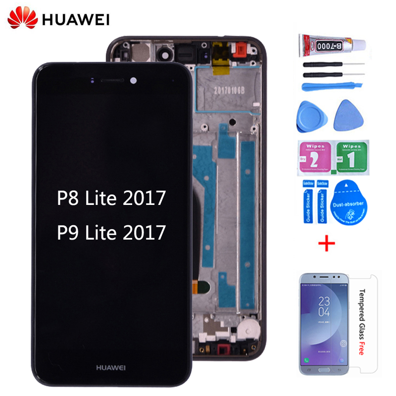 Original For Huawei P8 Lite 2017 PRA-LA1 LCD Display Touch Screen Digitizer Assembly With Frame For  Huawei P9 Lite 2017 Lcd