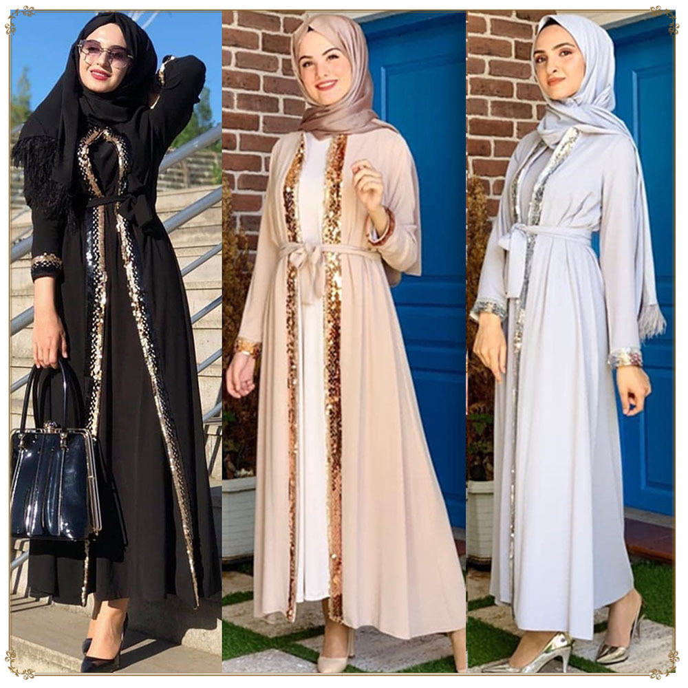long sleeve sequined long abaya