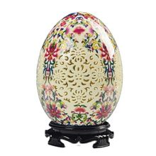 Chiny wysokiej jakości antyczne kości słoniowej porcelanowe ozdobne ażurowe jajko tanie tanio MIAO YANG GONG YI CN (pochodzenie) Flower Antique craft CHINA Ceramiczne i emaliowane