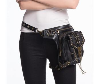 Punk Rave Women's Steampunk Chain Faux Leather Waist Bag Goth Hip Bag Black Holster 40621866103