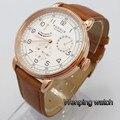Новинка 2019 года Parnis 42 мм Мужские Роскошные Механические часы розовое золото корпус Дата Кожаный автоматический механизм Досуг модные часы