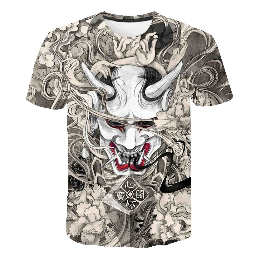 Hot Man T-shirt One Piece Japanese Tattoo Fashion Man's Brand Off White Animal Street Casual Harajuku Sports Tenis Masculino Tee