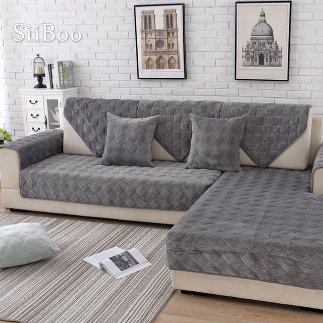 Quilted Plush Sectional Sofa Cover