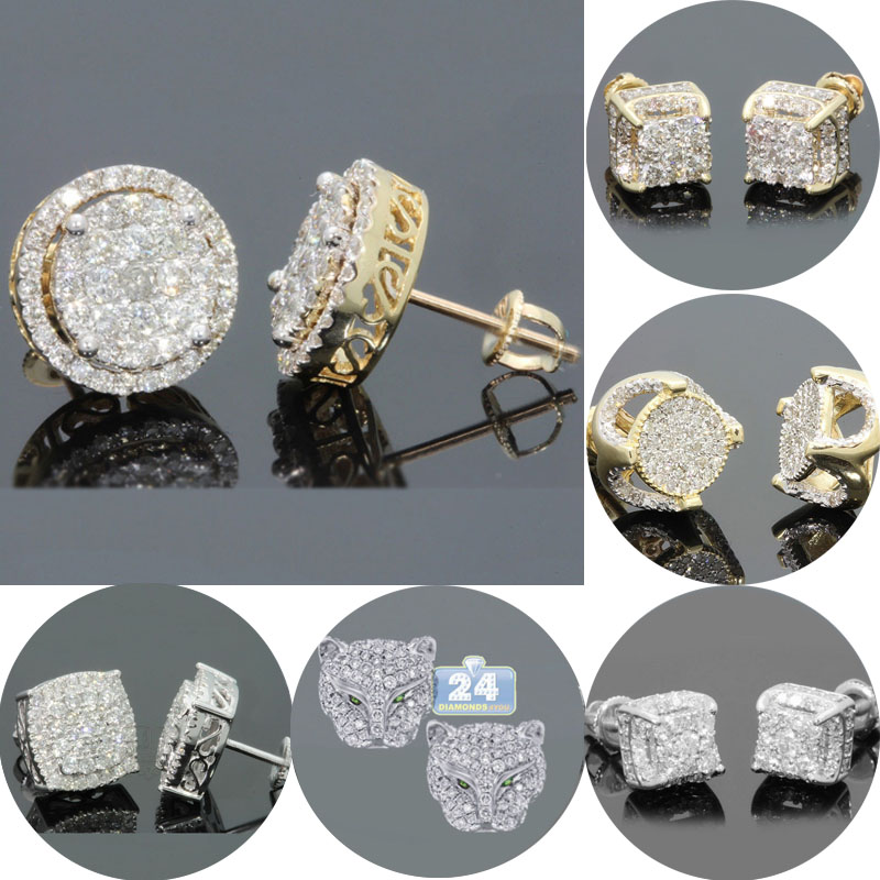 Luxury Rhinestone Crystal Stud Earrings Punk Gold Color Round Bling Earring Women Men Fashion Hip Hop Jewelry Z3N957(China)