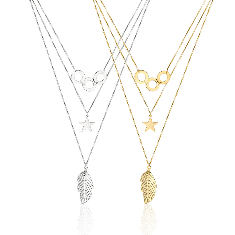 Statement Pendant Necklace Women Accesories Leaves Stars Stainless Steel Jewelry Gold Chain Long Multilayer Layered