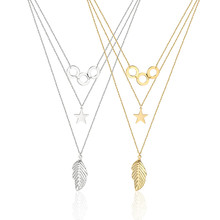 Statement Pendant Necklace Women Accesories Leaves Stars Stainless Steel Jewelry Gold Chain Long Multilayer Layered Necklace