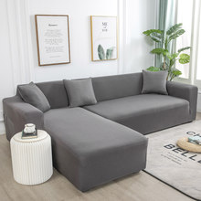 Grey Plain Elastic Stretch Sofa Cover L-shaped Bottom Sofa Combination Sofa Chaise Longue Cover For Living Room Slipcovers