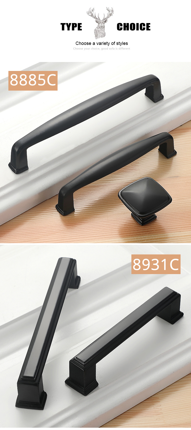 Ha7ae53bf97684264bb37147221b9acb2l - American Style Black Cabinet Handles Solid Aluminum Alloy Kitchen Cupboard Pulls Drawer Knobs Furniture Handle Hardware