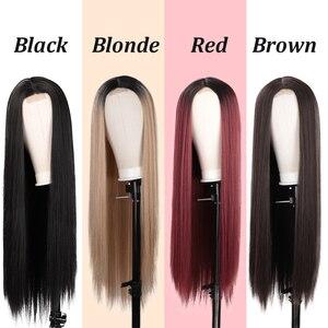Image 3 - AISI שיער ארוך ישר שחור פאה סינטטי פאות עבור נשים טבעי התיכון חלק תחרת פאה עמיד בחום סיבי למראה טבעי פאה