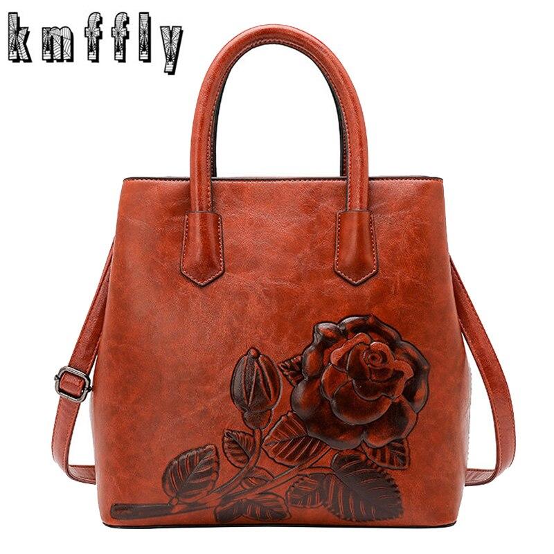 Luxurious Women Handbag Rose Print Lady Tote Bag Leather Large Capacity Ladies Shoulder Bag Luxury Messenger Bags For Women 2019