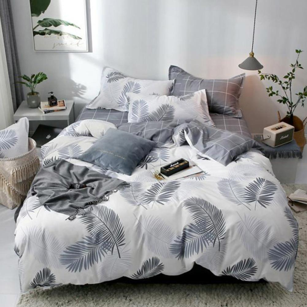 3/4pcs Double Sided  Leaf Printed Bedding Sets Bed Sheet Pillow Case Quilt Duvet Cover Set  Bedding Sets Room Decoration