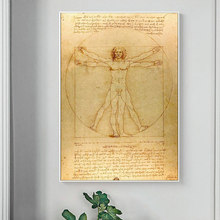 Classical Famous Vitruvian Man, Study of Proportions by Leonardo da Vinci Oil Painting Canvas Posters Print Pictures Living Room