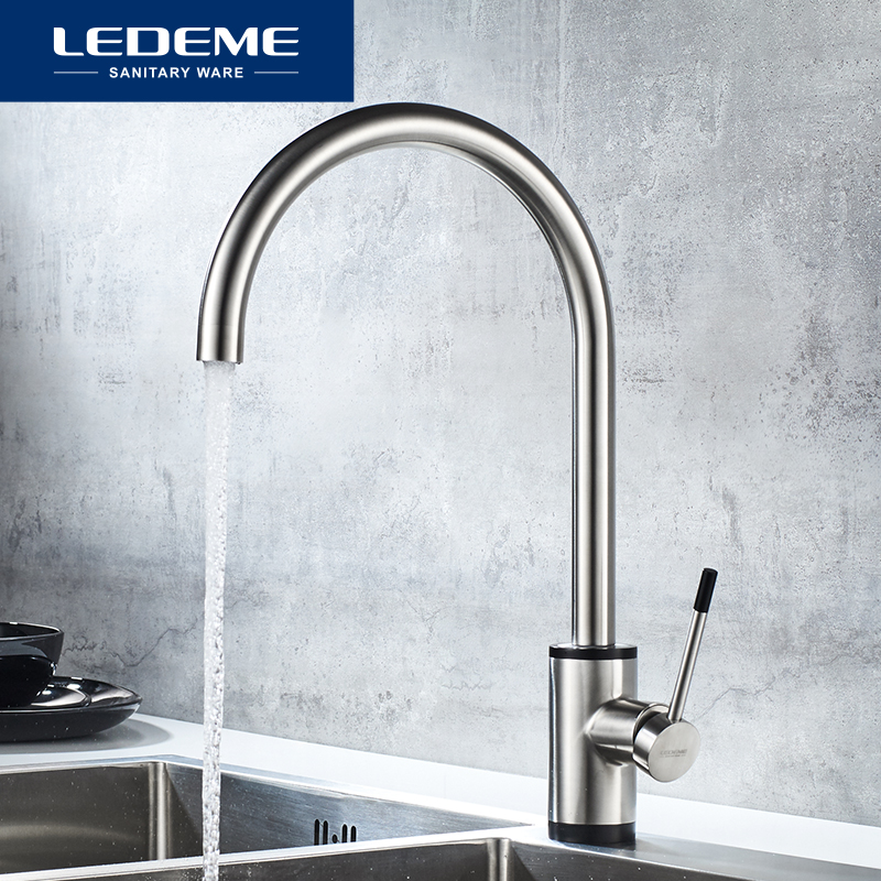 LEDEME Kitchen Faucet Swivel Durable Single Hole Handle Rotation Tap Brushed Stainless Steel Classic Kitchen Faucets L74013