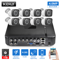 KERUI 8CH Home Security Camera System DVR Kits Audio Record HDMI CCTV Video Surveillance System Set With 8pcs 4MP Camera