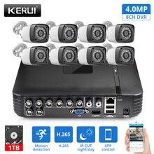KERUI AHD Home Security กล้องระบบ 8CH DVR ชุดบันทึกเสียง 8 pcs 4MP กล้อง HDMI กล้องวงจรปิดการเฝ้าระวังวิดีโอชุด