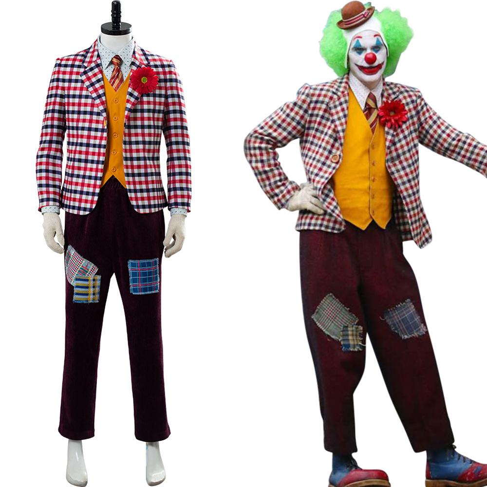 Full Set 2019 The Joker Cosplay Costume Wig Batman Arthur Fleck Joker Jacket Uniform Vest Shirt Coat Blazer Pants Suit Halloween