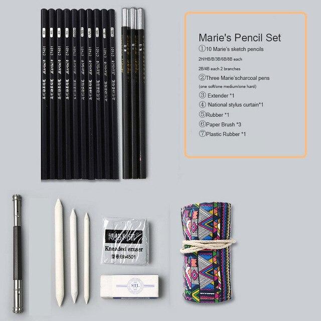 Marie's карандаш для эскизов набор эскизная ручка набор карандашей для рисования начинающих студентов профессиональный полный набор эскизов Пишущие принадлежности - Цвет: ethnic wind curtain