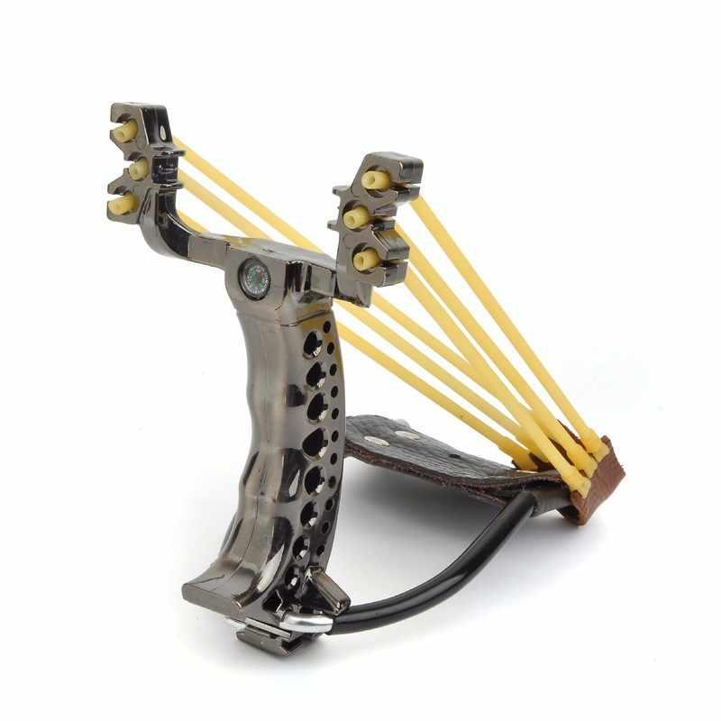 Lance-pierre de chasse puissante avec tube élastique catapulte en cuir PU balle de tir de fronde de poche en plastique tactique professionnelle