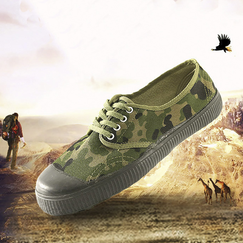 USHINE 36-45 Canvas Wear-resistant Outdoor camouflage Military Training Bulding Hiking Sneakers Casual Shoes Man Woman big size