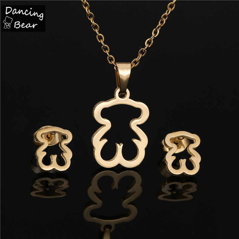 זהב צבע נירוסטה שרשרת עגיל תכשיטי סטי דוב צלב תלתן שרשרת סטים לנשים לא דהוי צבע תכשיטים