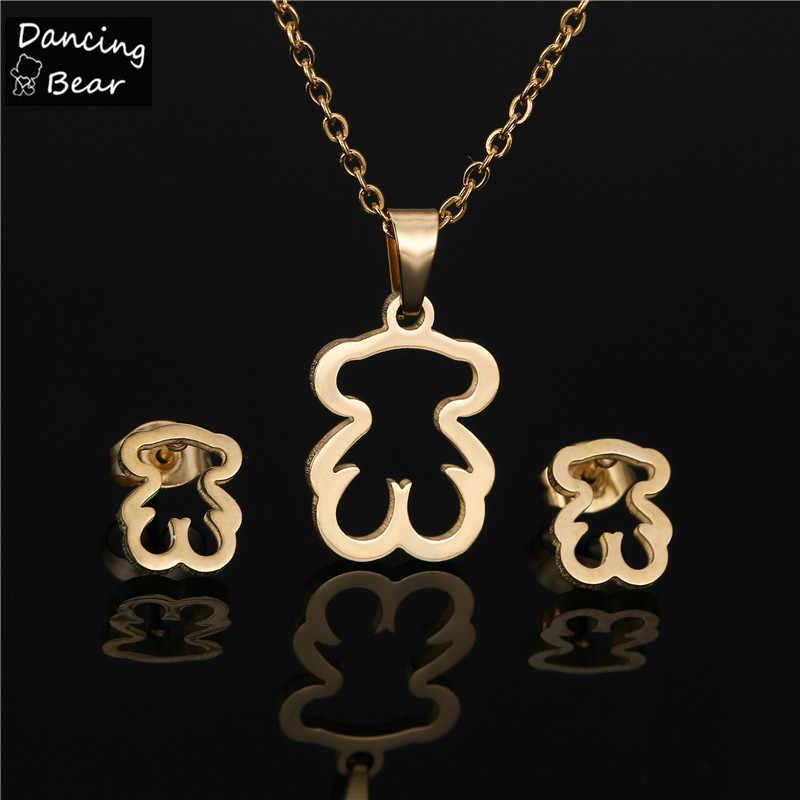 Złoty kolor naszyjnik ze stali nierdzewnej zestaw kolczyków niedźwiedź krzyż naszyjnik z koniczyną zestawy dla kobiet nigdy nie wyblakły kolor biżuterii