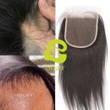 Véritable fermeture de dentelle de HD 5X5 fermeture avec des cheveux de bébé Striaght fermeture de dentelle de HD noeuds blanchis libres cheveux crus brésiliens de vierge