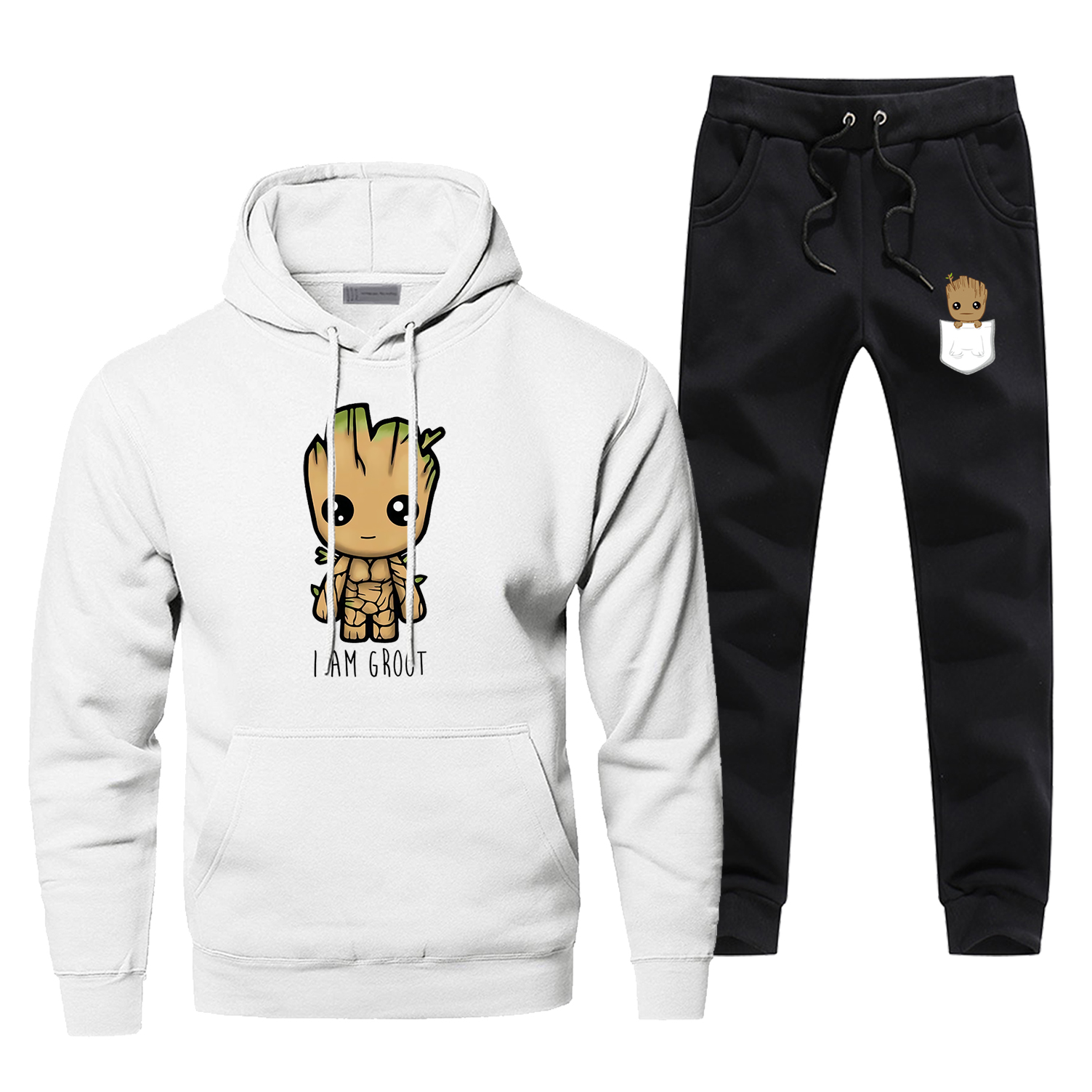 Guardians Of The Galaxy Print Sweatshirts Hoodie I Am Groot Star Lord Kawaii Groot Men's Sets Casual Chandal Hombre Streetwear