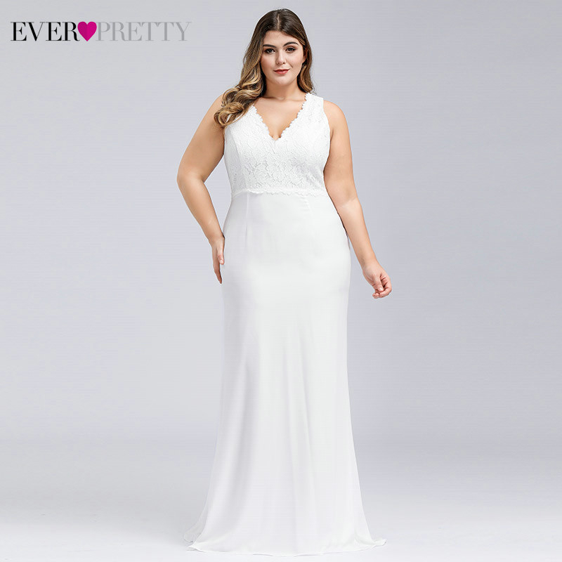 Plus Size Lace Wedding Dresses Ever Pretty EP07385CR Ruched V-Neck Sleeveless Sweep Train Elegant Bride Gowns Vestido De Noiva