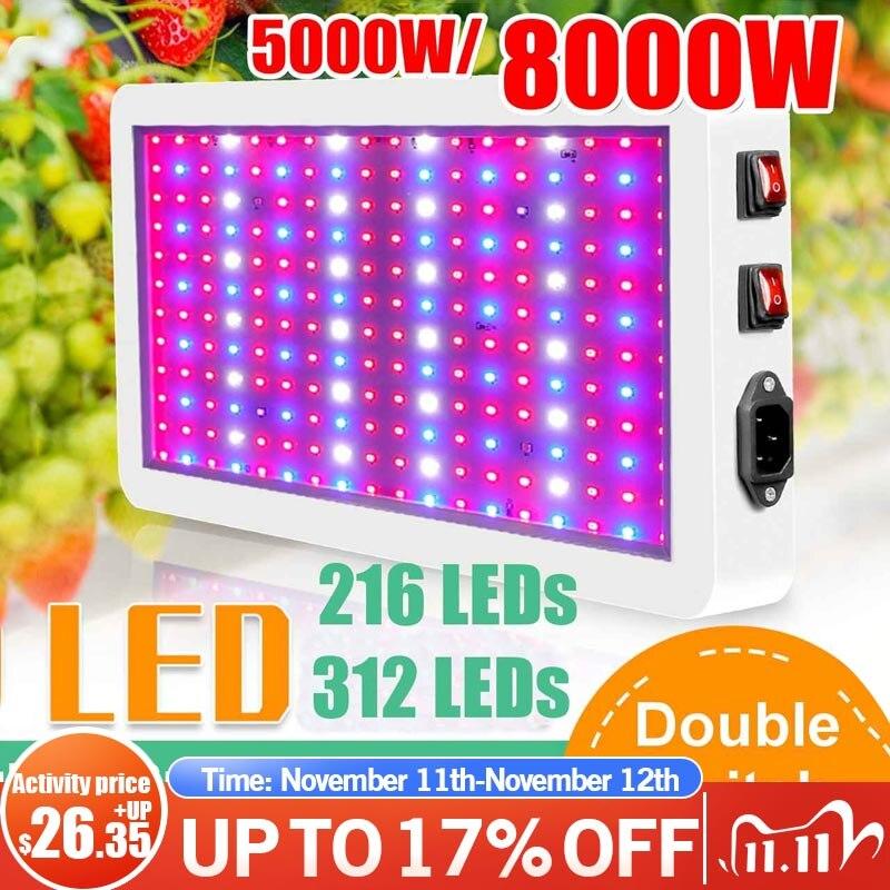 Espectro completo com led crescer painel de luz 5000w pro crescer lâmpadas kit suspensão hidropônica para plantas de interior 220v 110v